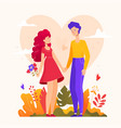 romantic couple - modern flat design style vector image vector image