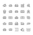 roofing flat line icons house construction roofs vector image