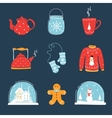 set christmas and winter holidays design vector image vector image