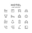 set line icons of hotel vector image vector image