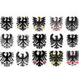 set of heraldic black eagles vector image