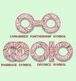 set of symbols of partnership unmarried divorce vector image