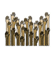 several arms hands gesture set collection on color vector image vector image