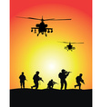 Soldiers group military helicopters vector image