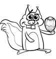 squirrel with nut coloring page vector image