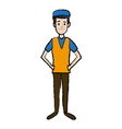 standing man young people cartoon image vector image