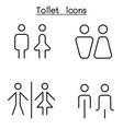 toilet restroom bathroom icon set in thin line vector image vector image