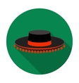 Traditional spanish hat icon in flat style vector image