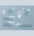 transparent glass plates set square shape vector image vector image