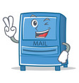 two finger mailbox character cartoon style vector image vector image