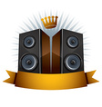 Two speakers with crown and ribbon vector image vector image