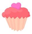 Valentine cupcake icon cartoon style vector image