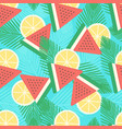 watermelon and lemon seamless pattern vector image vector image