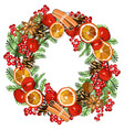 wreath with traditional symbols new year and vector image vector image