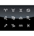 Zodiac icons on black background vector image