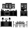 Set of icons of kitchen furniture vector image