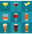 Alcohol and beer icons set vector image