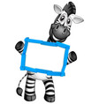 blank sign template with happy zebra on white vector image vector image