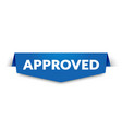 blue approved label for web shop vector image vector image