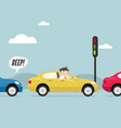 businessman on the road with traffic jam vector image