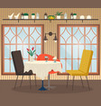 cafe interior view with coffee nobody place vector image vector image