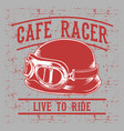 cafe racer biker helmet with inscription live vector image vector image