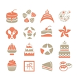 cakes logo set in vintage style pink and grey vector image