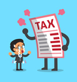 Cartoon businessman with big tax letter vector image