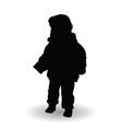 child standing happy silhouette vector image vector image