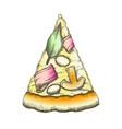 color delicious italian slice pizza monochrome vector image vector image
