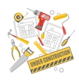 Construction worker pictograms composition banner vector image vector image