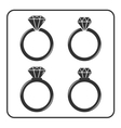 Diamond engagement ring icons set 4 vector image