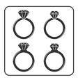 Diamond engagement ring icons set 4 vector image
