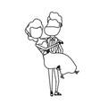 dotted shape happy couple married and man carrying vector image vector image