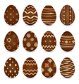 Easter set chocolate ornate eggs with shadows vector image vector image
