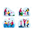 family happy life and routine scenes set vector image vector image