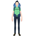 Guy Standing With Travel Backpack vector image