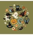 halloween poster design set in circle vector image vector image