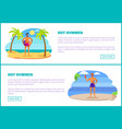 hot summer web posters tropical beach and athletes vector image