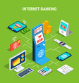 internet banking isometric flowchart vector image