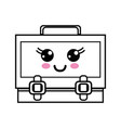 line kawaii cute happy suitcase design vector image vector image