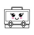 line kawaii cute happy suitcase design vector image vector image