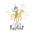 little knight riding his horse and text vector image