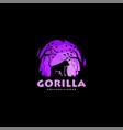 logo gorilla night silhouette style vector image vector image