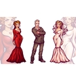 Man with woman in full dress and tux Bride vector image