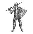 medieval armed knight riding a horse historical vector image vector image