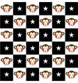 Monkey Star Black White Chess Board Background vector image