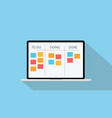 online kanban technology with laptop and paper vector image