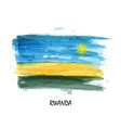 realistic watercolor painting flag of rwanda vector image vector image