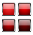 red glass square buttons with chrome frame vector image vector image